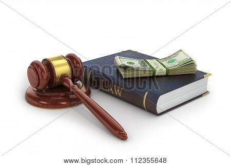 Concept Of Bribes. The Wooden Gavel With Book Of Law And Money On A White Background.