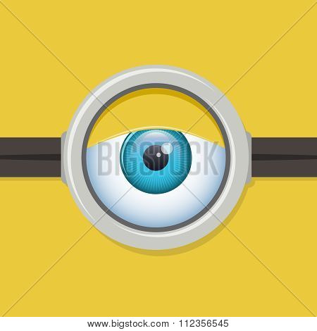 Cartoon one eye glasses or goggles eye. Vector character