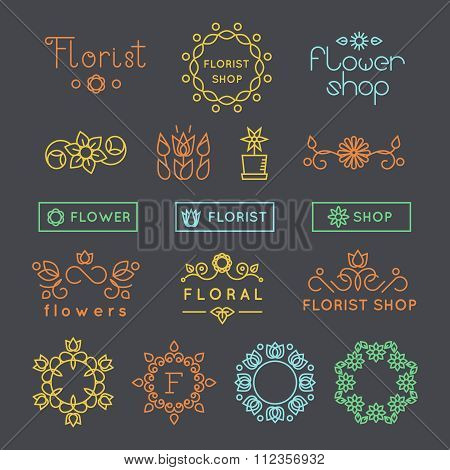 Floral, gardening and flower shop logos, labels emblems vector set