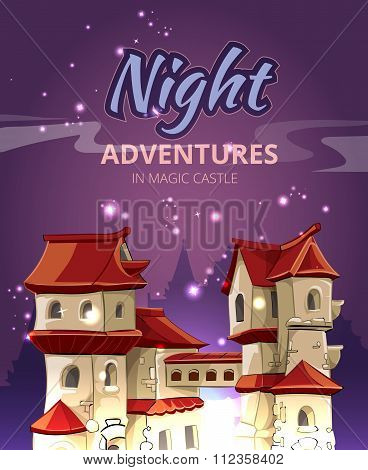 Medieval city vector background for computer game with user interface UI and title in cartoon style