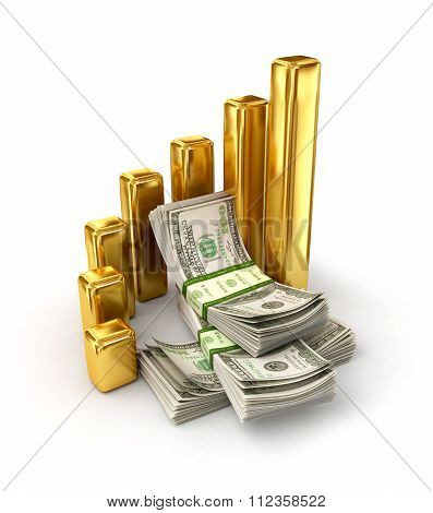 concept Of Changes In Exchange Rates, A Stacks Of Dollar Bills Surrounded By Gold Columns