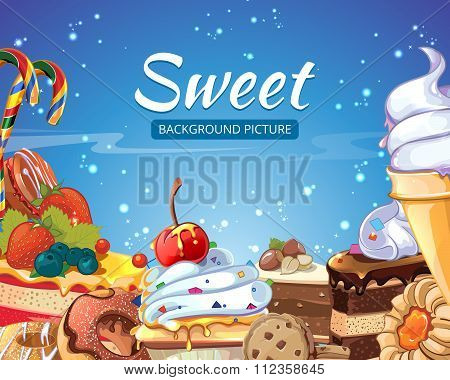 Sweets vector abstract background with candy, cakes, donuts and lollipops