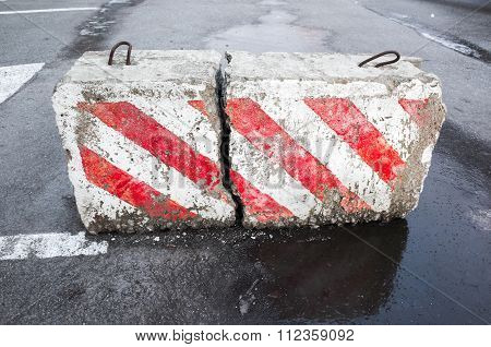 Concrete Road Block With Warning Pattern