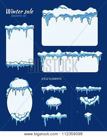Winter sale stickers, tags and banners with icicles. Vector set