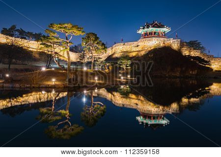 Hwaseong Fortress, Traditional Architecture Of Korea In Suwon At Night, South Korea.