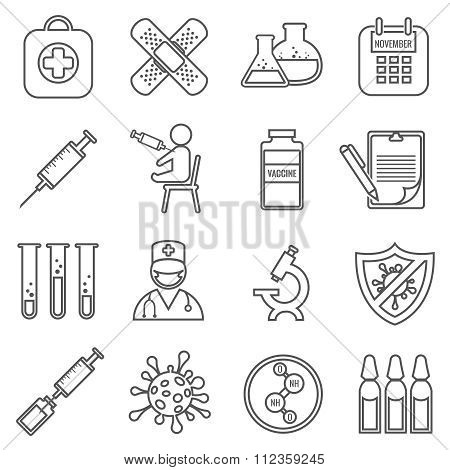Medical vaccinations vector outline linear icons set