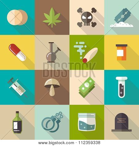 Drugs flat vector icons set