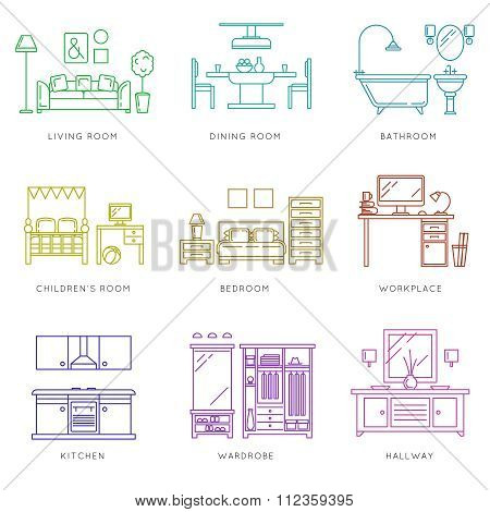 Home rooms interior in linear style. Vector icons set