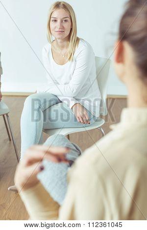 Worried Girl On Meeting