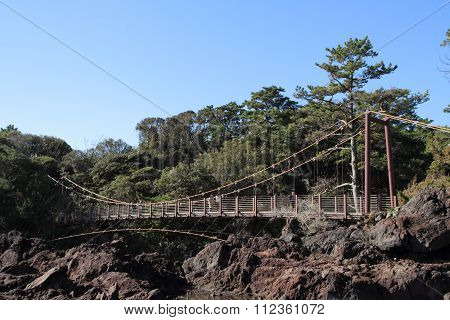 Kadowaki suspension bridge in Jogasaki coast Izu Shizuoka Japan