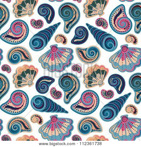 Seamless pattern with shells. Summer vector colorful background. Hand draw colorful sea shells backdrop