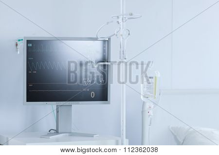 Professional Electrocardiogram In Hospital Room