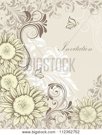 Vintage invitation card with ornate elegant retro abstract floral design, pale yellow white gray and dark gray flowers and leaves on light gray background with butterflies. Vector illustration.