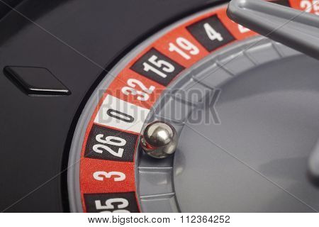 Casino Roulette Detail With Ball In Number Seventeen. Gambling
