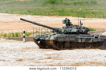 Tank on a field