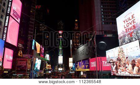 New York City, New York - December 2015:  Christmas Display at Time Square