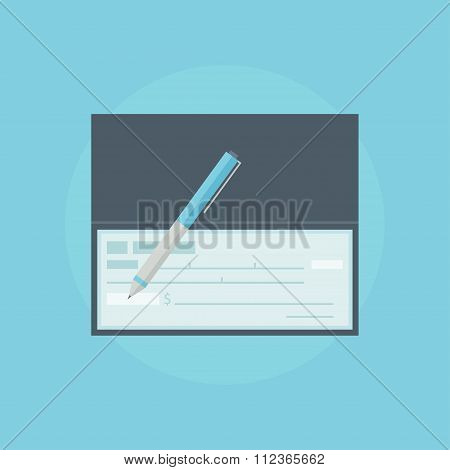Cheque flat vector illustration