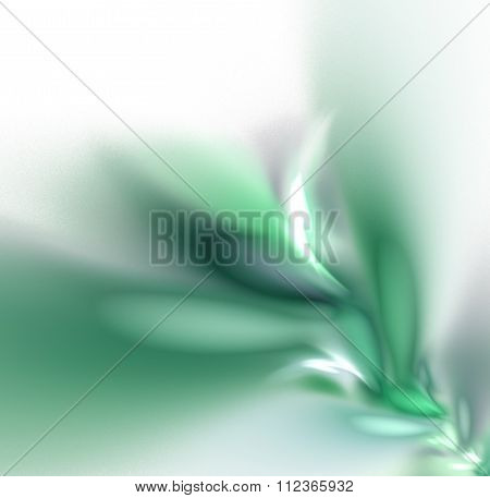 White Abstract Background With Pastel Branch - Grey, Green - Texture, Fractal