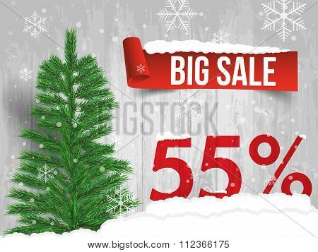 Winter Sale 55 Percent. Winter Sale Background With Red Ribbon Banner And Snow. Sale. Winter Sale. C