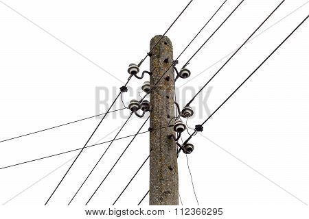 Electricity Post With Wire Lines, Isolited. Power Electric Distribution