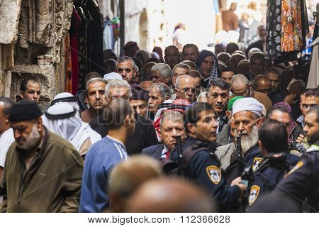 People Return From Friday Prayer At Al Aqsa Mosque. Old Jerusalem. Israel.