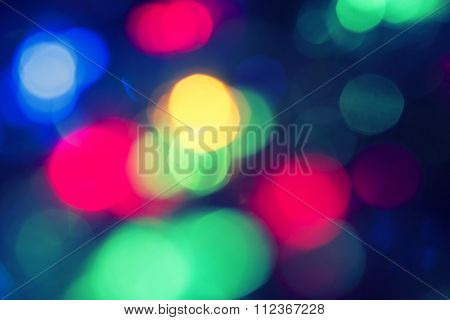 Red, green and blue defocused lights background.