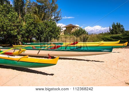 Hawaiian pirogue on the beach in Maui, Hawaii