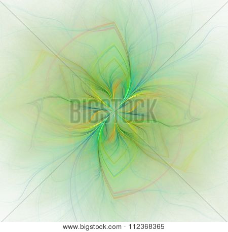 Abstract White Background With Green Pastel Colored Flower Or Rays In The Center Texture