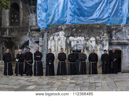 Franciscan Fathers On Friday Via Dolorosa Procession. Jerusalem. Israel.