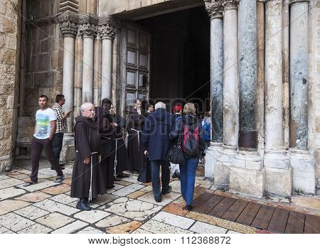 Franciscan Fathers Near Holy Sepulchre Church. Jerusalem. Israel.