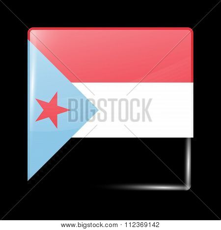 Flag Of South Yemen. Glassy Icon Square Shape
