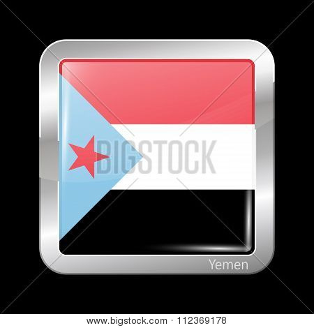 Flag Of South Yemen. Metallic Icon Square Shape