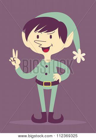 Cool Cartoon Elf Making A Peace Sign