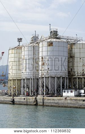 Silos For Agricultural Goods In A Harbour