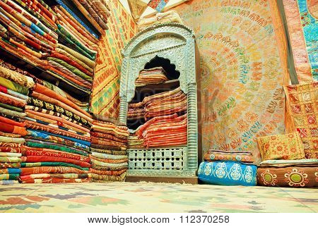 Cupboard Of Traditional Indian Souvenir Shop, Full Of Silk Shawls And Scarves