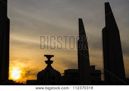 The Democracy Monument At Twilight Time At Bangkok,thailand, Silhouette.