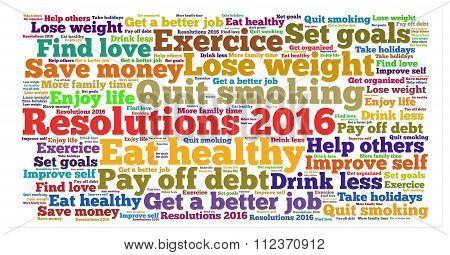 Resolutions 2016 word cloud
