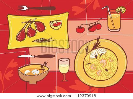 Pasta and meat