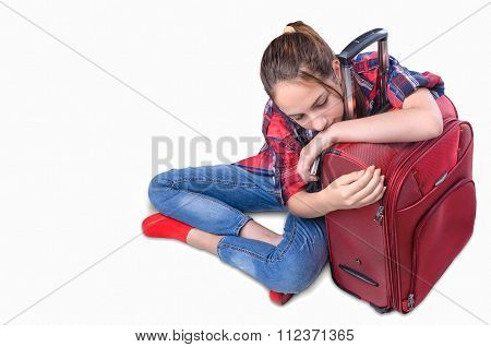 Young girl with suitcase .