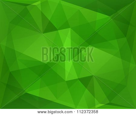 Abstract Polygonal Geometric Background With Green Diagonal Symmetry Texture, In Vector