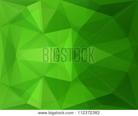 Abstract Polygonal Geometric Background With Green Triangle Texture, In Vector