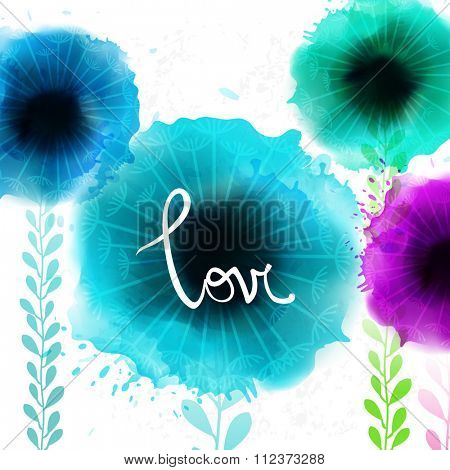 Watercolor romantic blooming poppy flowers isolated vector illustration Template for wedding, valentine day, mothers day, birthday, invitations.