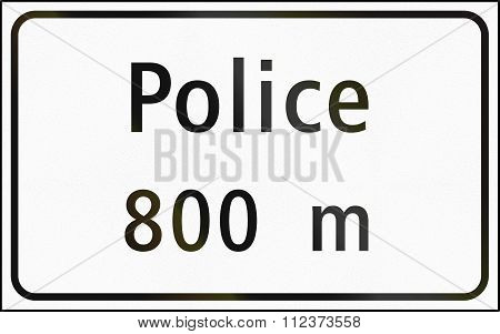 Road Sign Used In Switzerland - Distance To Police Station In French