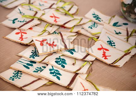 A Lot Of Small Bags With Floral Ornament For Sachet