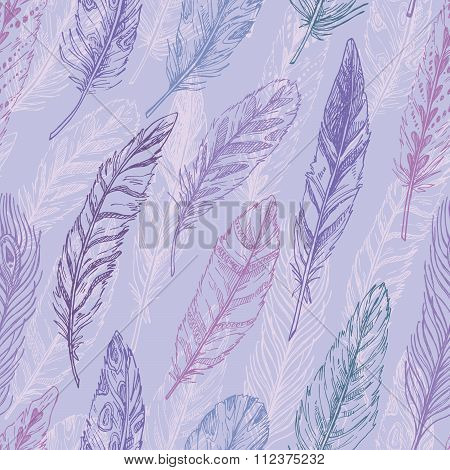 Seamless Pattern. Hand Drawn Vector Vintage Illustration - Feathers. Ink And Feather