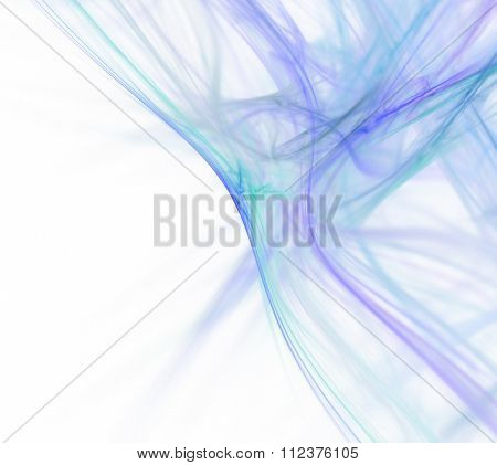 Abstract White Background With Blue And Turquoise Diagonal Lines Texture, Waves Defocused, Fractal