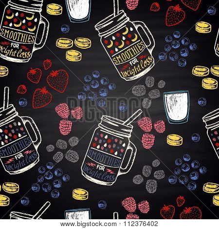 Chalk painted colorful seamless pattern for weight loss smoothies. Ingredients: banana, blueberries,