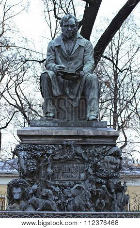 Monument To Russian Fabulist Ivan Krylov In The Summer Garden In St. Petersburg