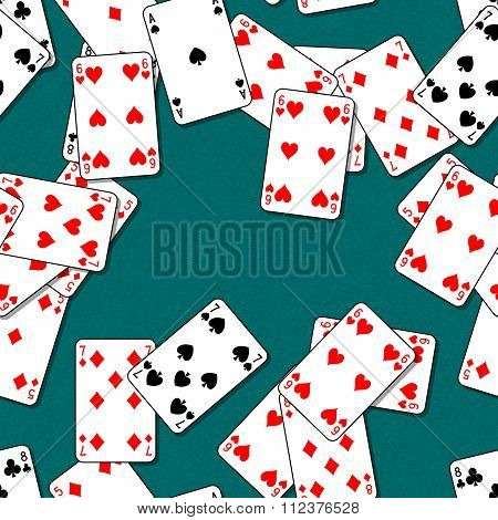Playing cards scattered on a green table. Seamless pattern texture background. The table in the gami
