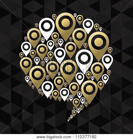 Gps Speech Bubble Chat Icon Symbol Concept Shape